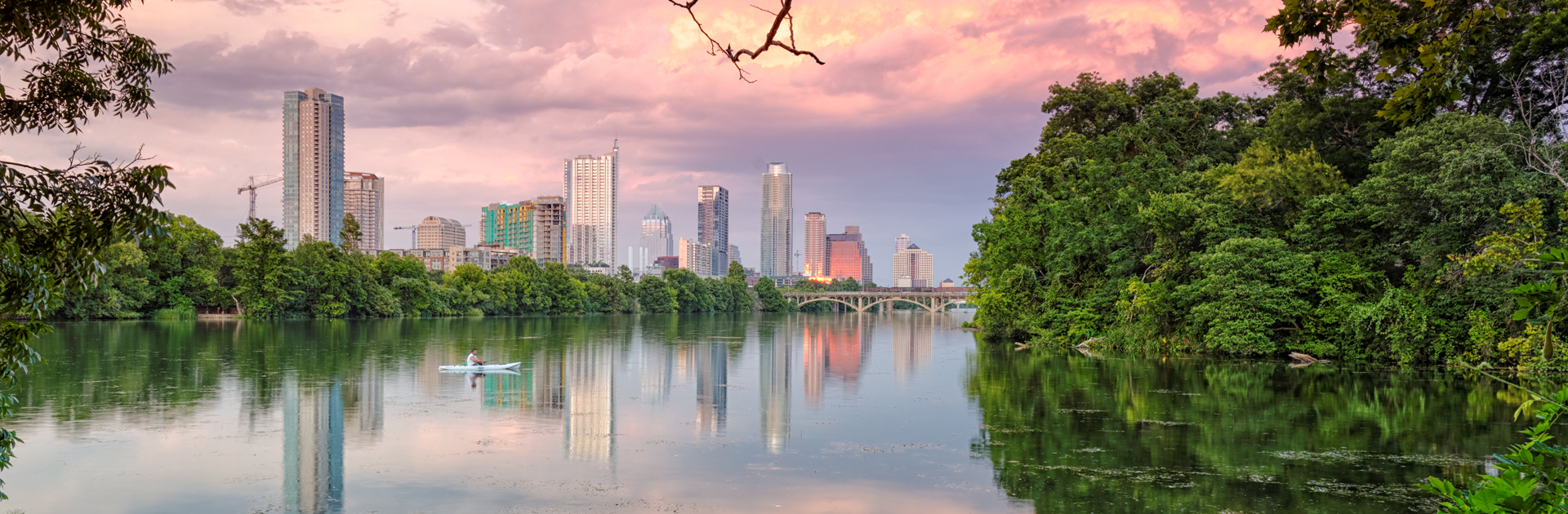 Austin City Skyline Viewed from River